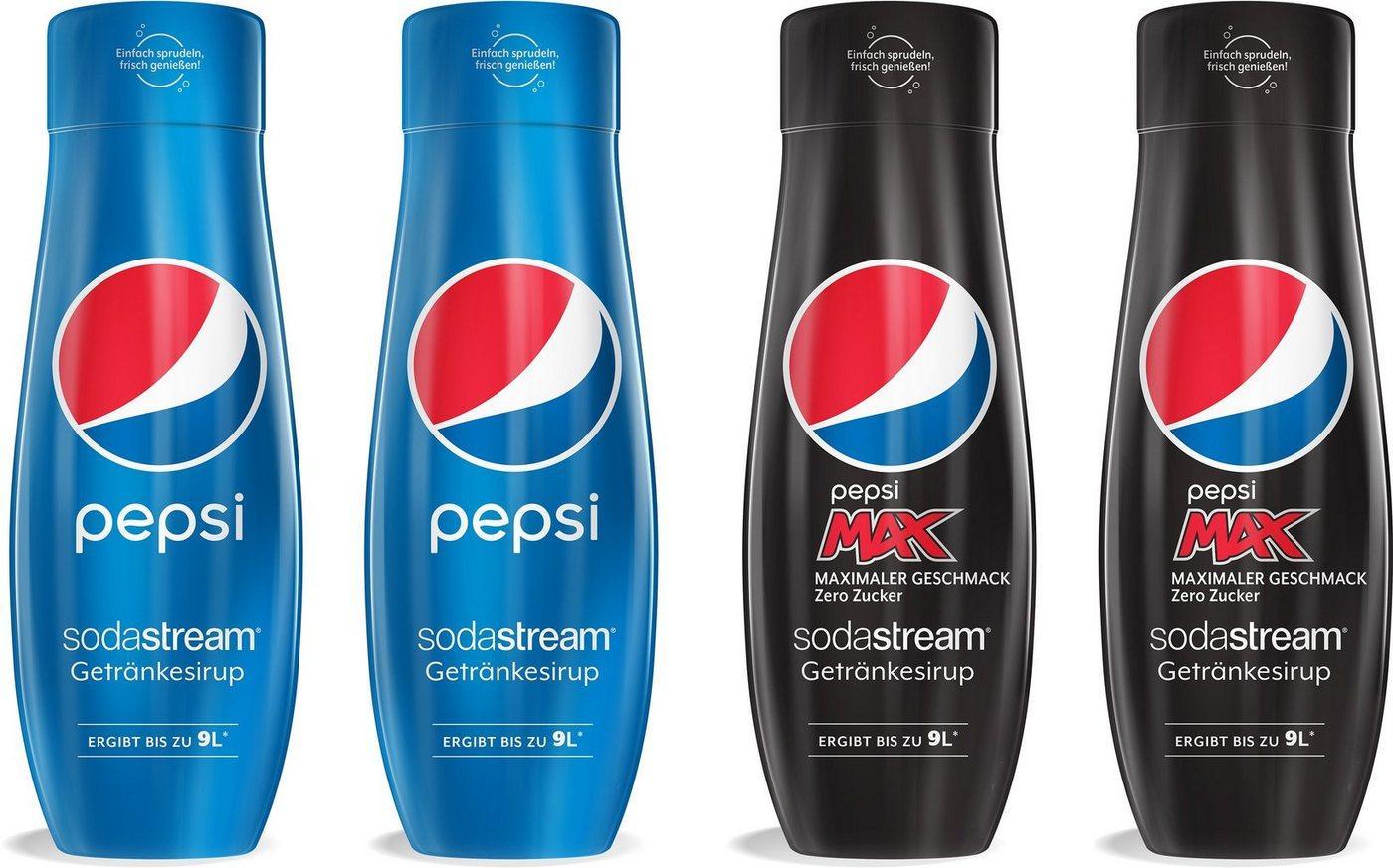 SodaStream Getränke-Sirup Pepsi & PepsiMax, 4 Stück, für bis zu 9 Liter Fertiggetränk