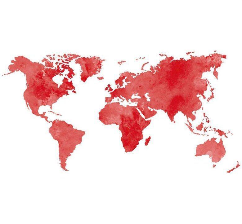 Wall-Art Wandtattoo »5 Bilderrahmen Weltkarte Rot« (1 Stück)