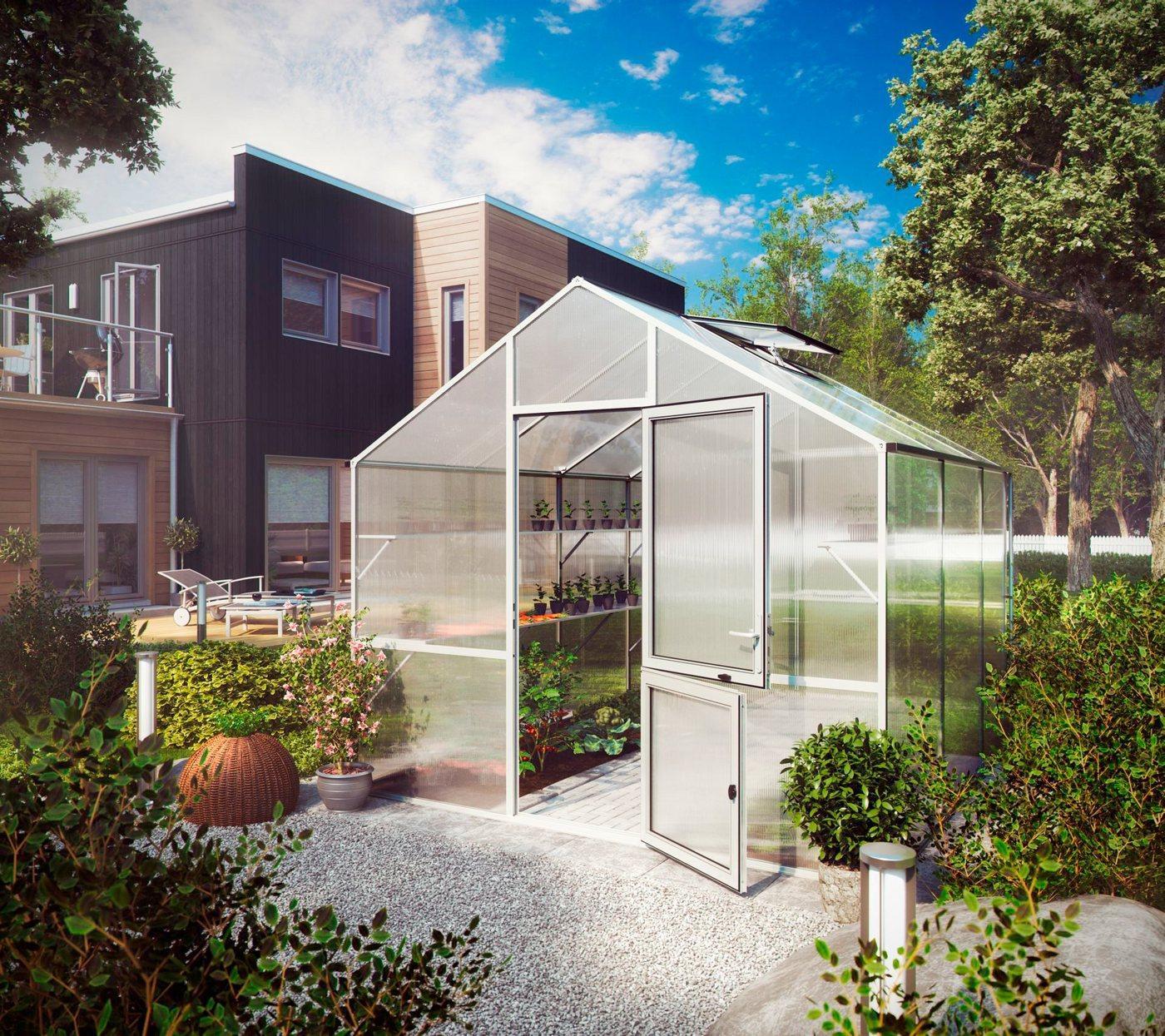 KGT Gewächshaus »Lilie III«, BxTxH: 297 x 323 x 268 cm, 10 mm Wandstärke, mit Regenrinne
