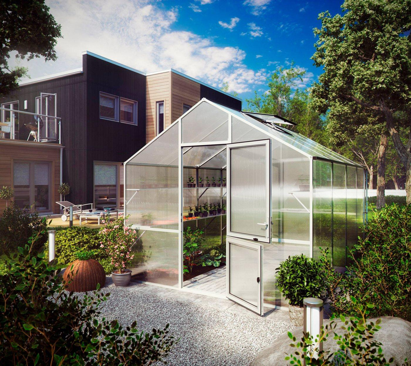 KGT Gewächshaus »Lilie IV«, BxTxH: 297 x 429 x 268 cm, 10 mm Wandstärke, mit Regenrinne