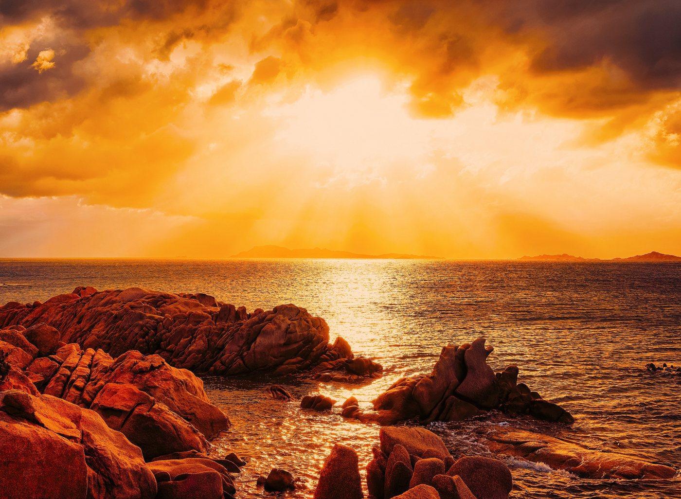 Papermoon Fototapete »Capriccioli Beach Sunset Sardinia«, glatt
