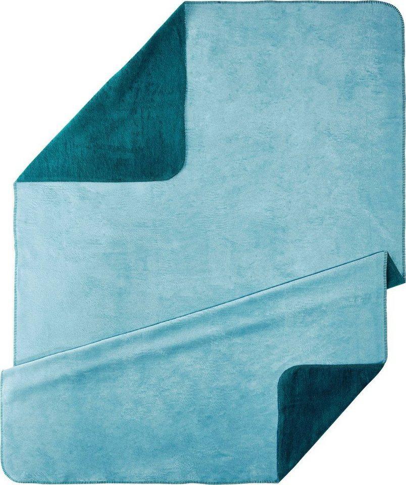 Wohndecke »UNI«, Kneer, kuschelige Wendedecke in großer Farben-Vielfalt, grün