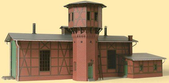 Auhagen Modelleisenbahn-Gebäude »Lokschuppen mit Wasserturm«, Spur H0, Made in Germany
