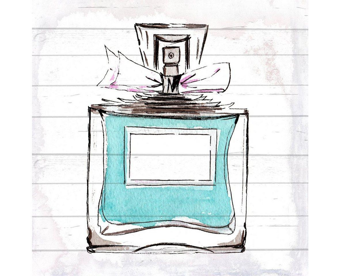queence Holzbild »Blaues Parfum«, 40x40 cm