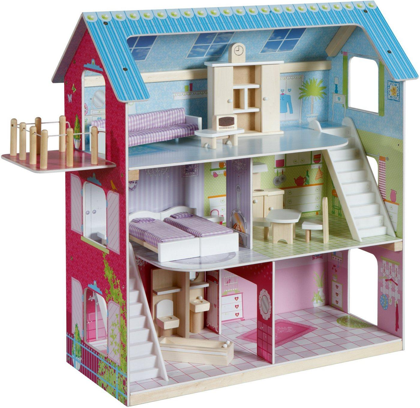 roba® Puppenhaus »Puppenvilla«, inkl. 16 Puppenmöbel