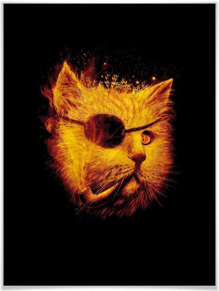 Wall-Art Poster »Katze Pirat Kater Dedektiv Schwarz«, Tiere (1 Stück), Poster, Wandbild, Bild, Wandposter