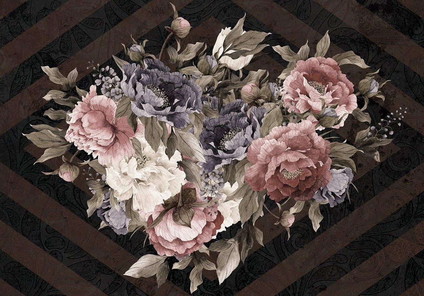 Consalnet Papiertapete »Blumenstrauß/Streifen«, floral