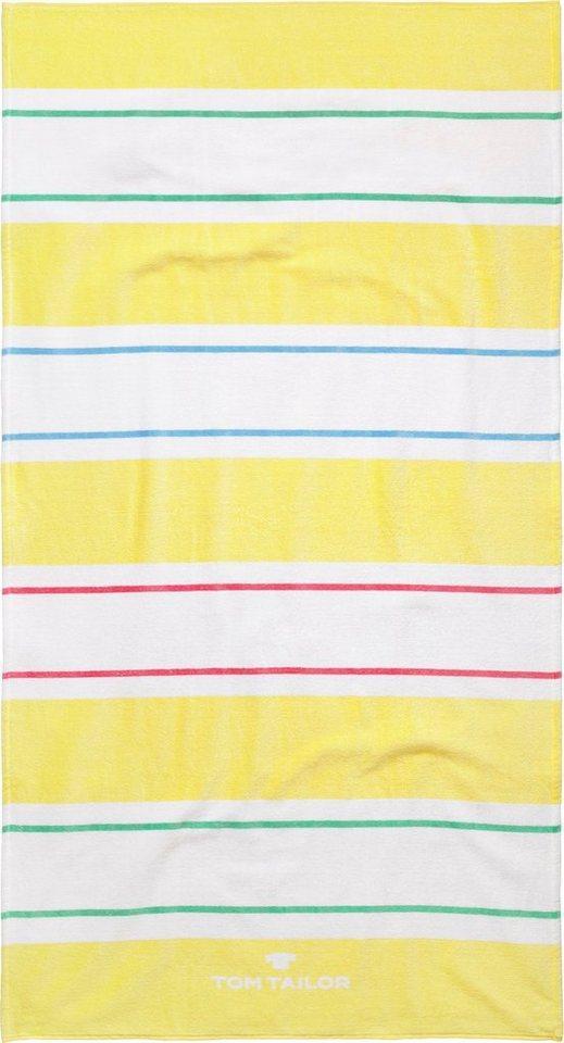 TOM TAILOR Strandtuch »Streifen« (1-St), mit unterschiedlichen Streifen, gelb
