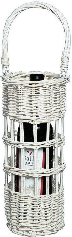 Ambiente Haus Flaschenhalter »Flaschenträger aus korb - weiß 31cm«, (1-St)
