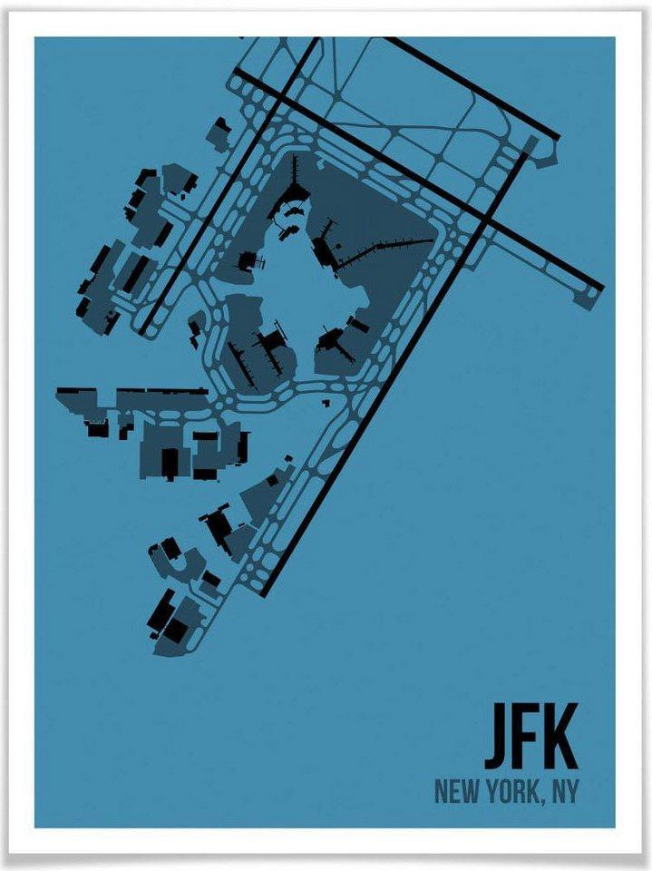 Wall-Art Poster »Wandbild JFK Grundriss New York«, Grundriss (1 Stück), Poster, Wandbild, Bild, Wandposter
