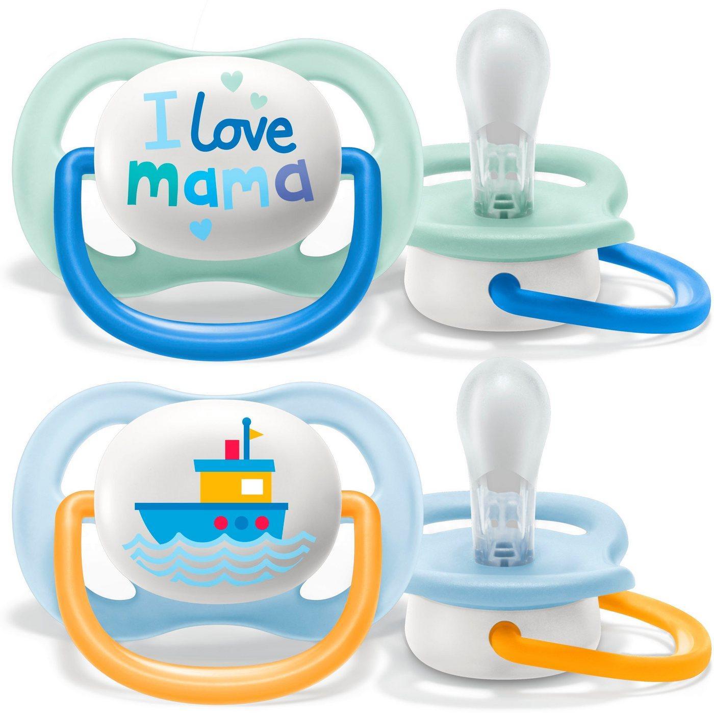Philips AVENT Schnuller »SCF080/01«, ultra air Schnuller, 0 bis 6 Monate Boy, Kiefergerecht und BPA-frei, Doppelpack, Mama/Boot