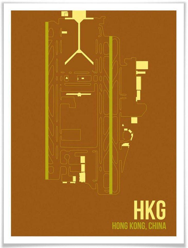 Wall-Art Poster »Wandbild HKG Grundriss Hong Kong«, Grundriss (1 Stück), Poster, Wandbild, Bild, Wandposter