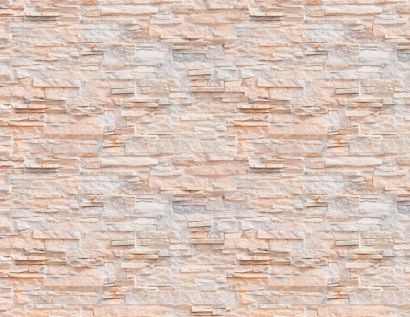 living walls Fototapete »Naturstein Steinmauer«, glatt, Vlies