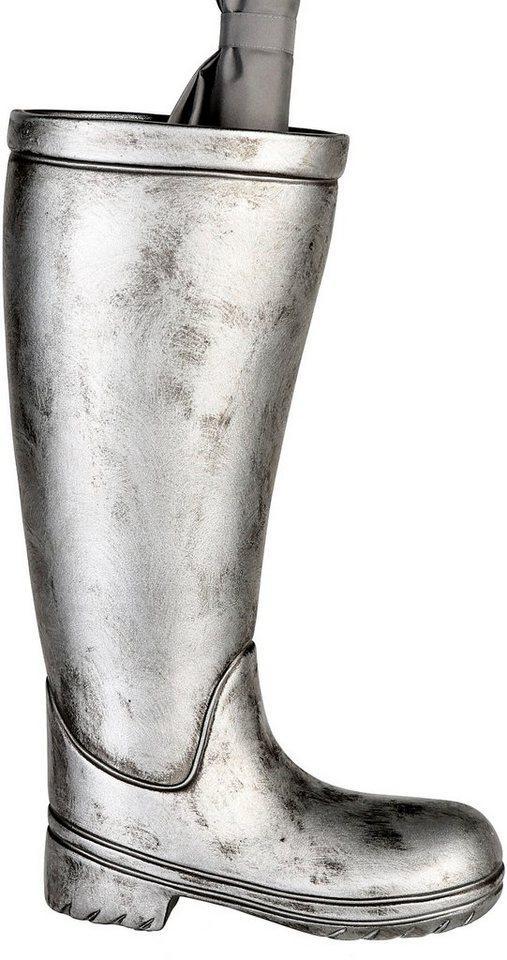 Casablanca by Gilde Schirmständer »Regenschirmständer Stiefel, silberfarben« (1 Stück), für Regenschirme, Höhe 45 cm, Gummistiefel-Form, aus Keramik