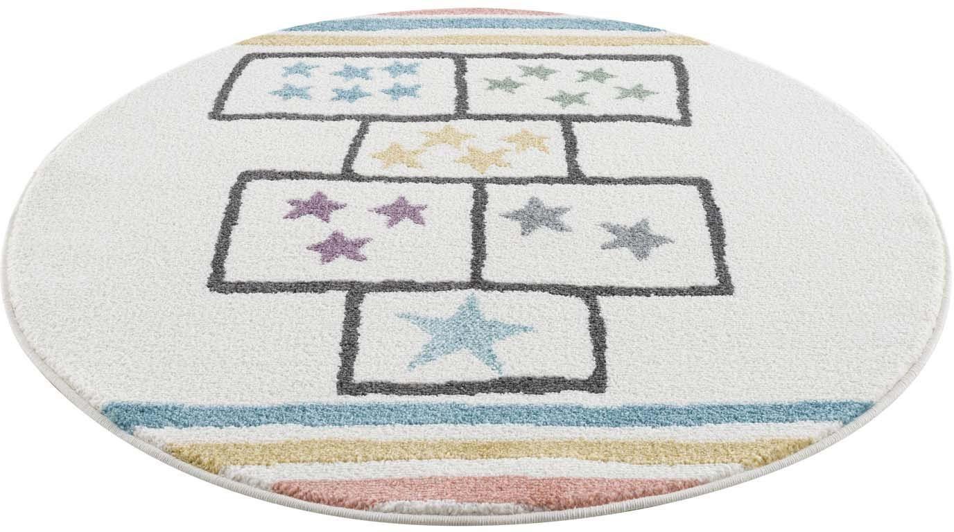 Kinderteppich »Anime9397«, Carpet City, rund, Höhe 11 mm, Spielteppich Hüpfkästchen
