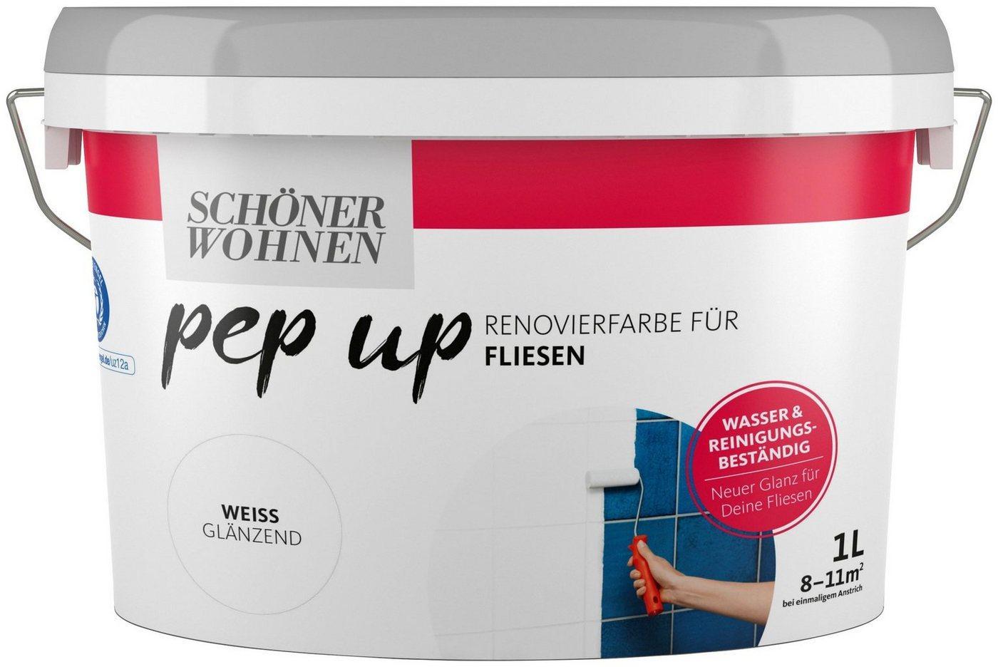 SCHÖNER WOHNEN-Kollektion Fliesenlack »pep up - weiß«, weiß glänzend, für Fliesen, 1 l
