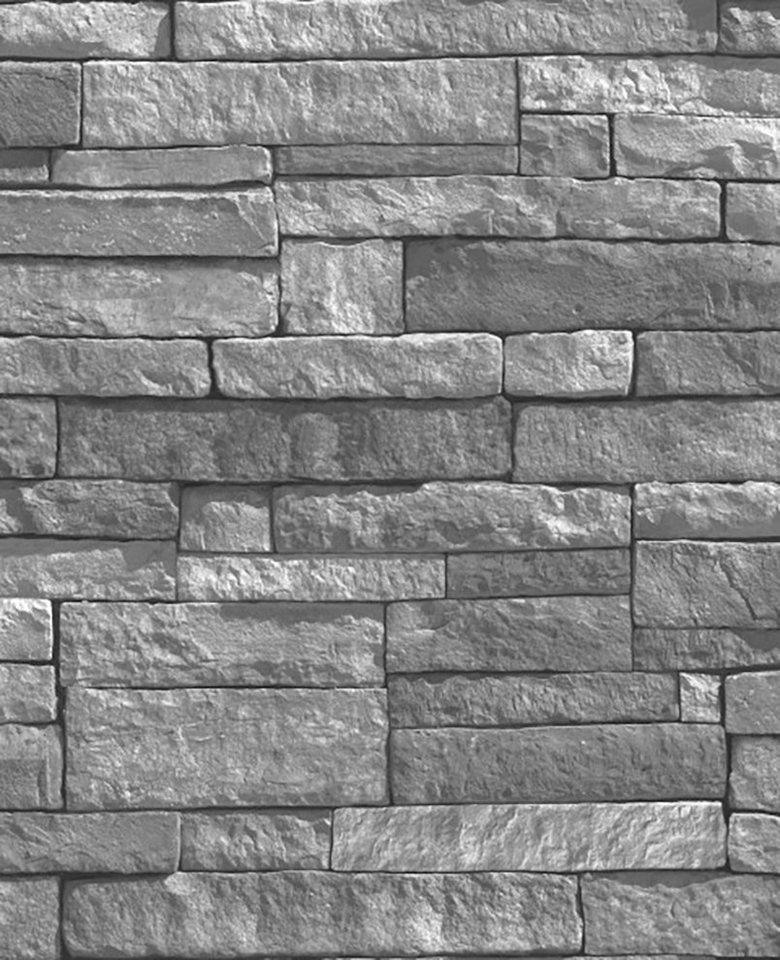 WOW Vliestapete »Steine«, Steinoptik, (1 St), Grau - 10m x 52cm