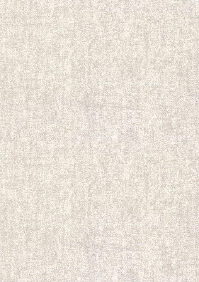 WOW Vliestapete »Textil Uni«, uni, (1 St), Creme - 10m x 1,06m