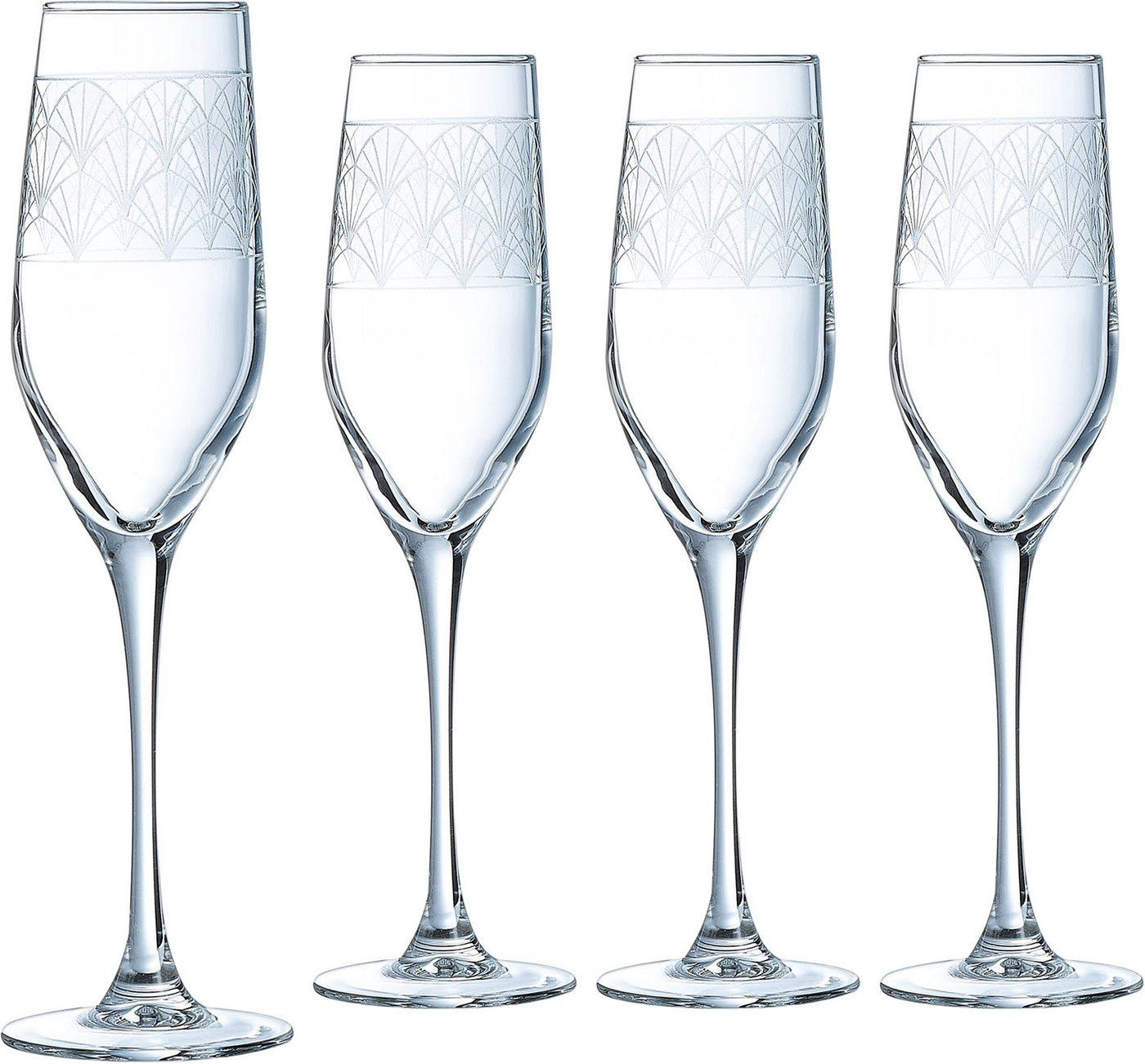 Luminarc Sektglas »Paradisio«, Glas, in Pantographie-Optik, 4-teilig
