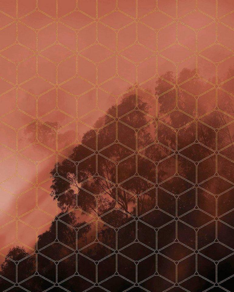 Komar Vliestapete »Pure Golden Grid«, glatt