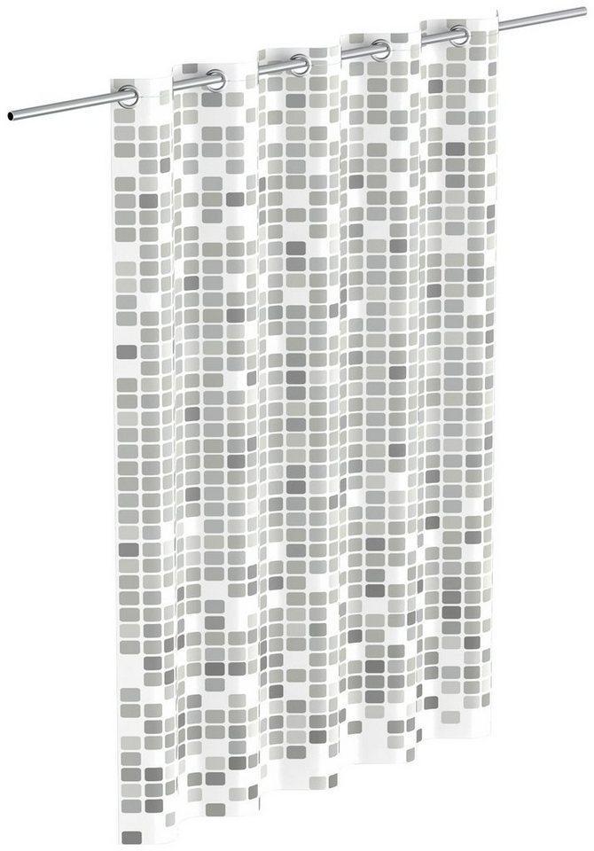 Eisl Duschvorhang »Mosaik« Breite 180 cm, graues Mosaik-Design