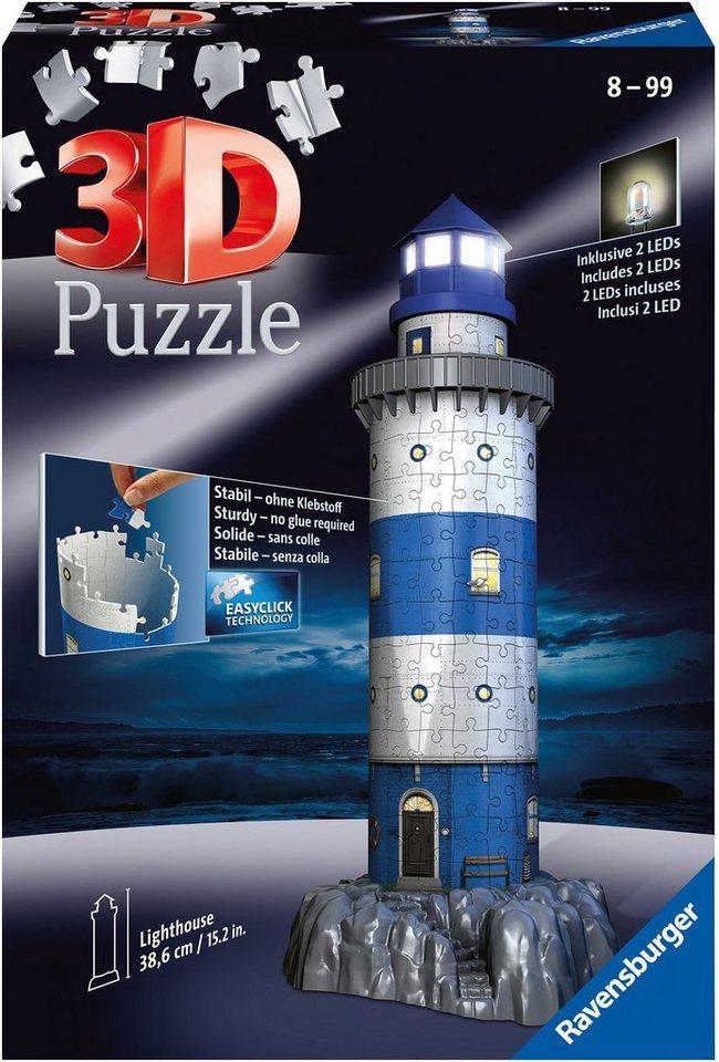 Ravensburger 3D-Puzzle »Leuchtturm bei Nacht«, 216 Puzzleteile, mit Leuchtmodul inkl. LEDs; Made in Europe, FSC® - schützt Wald - weltweit