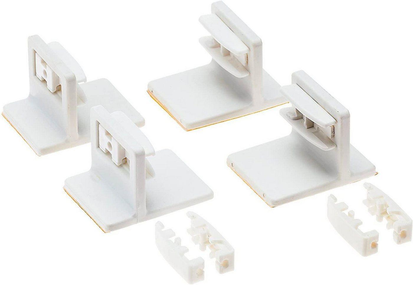 Klebeträger, K-HOME, Plissees, (Set, 4-tlg), für die Befestigung von verspannten Plissees auf dem Fensterrahmen, weiß
