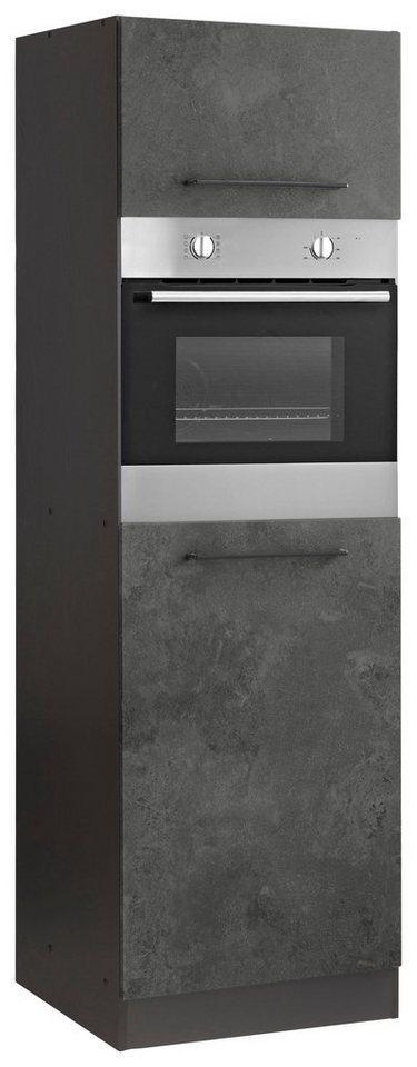 HELD MÖBEL Backofen/Kühlumbauschrank »Tulsa« 60 cm breit, 200 cm hoch, für Einbaubackofen und Einbaukühlschrank mit Nischenmaß 88 cm, grau