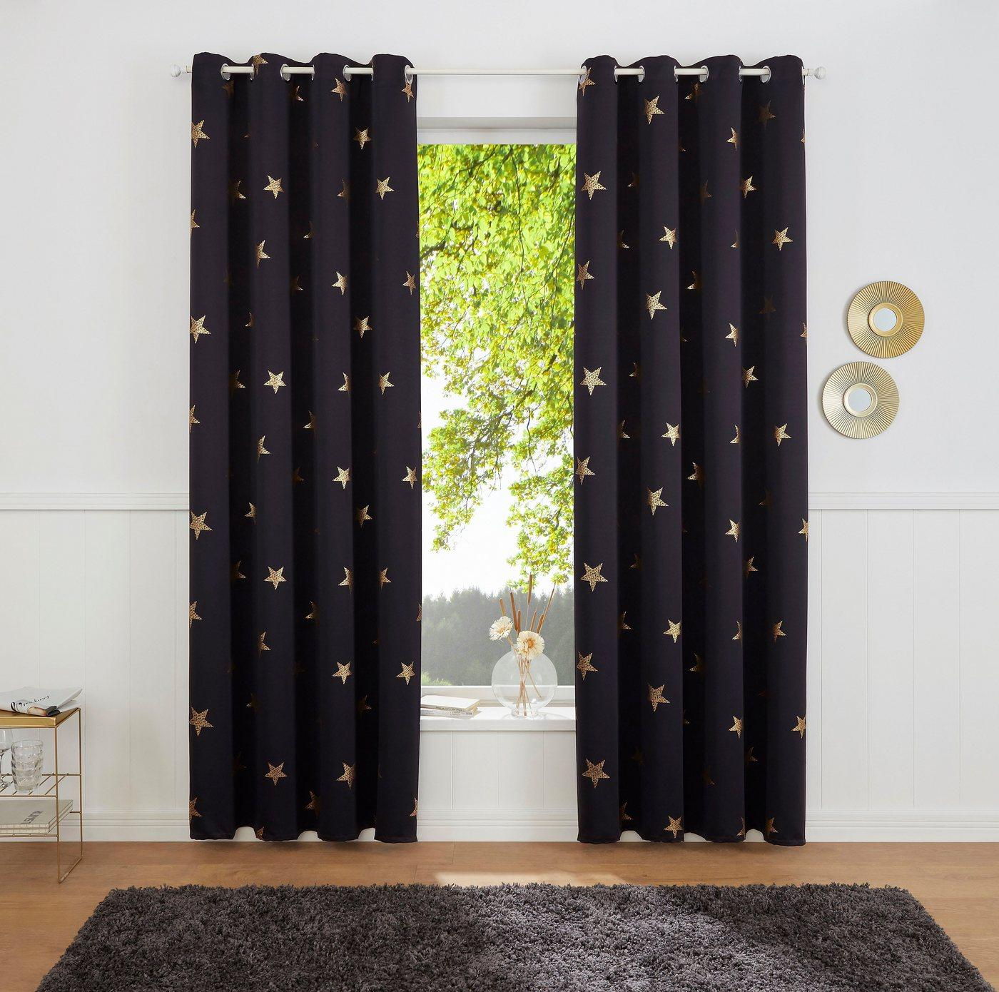 Gardine »Blackout Curtain With Foil Print Star«, my home, Ösen (1 Stück), schwarz