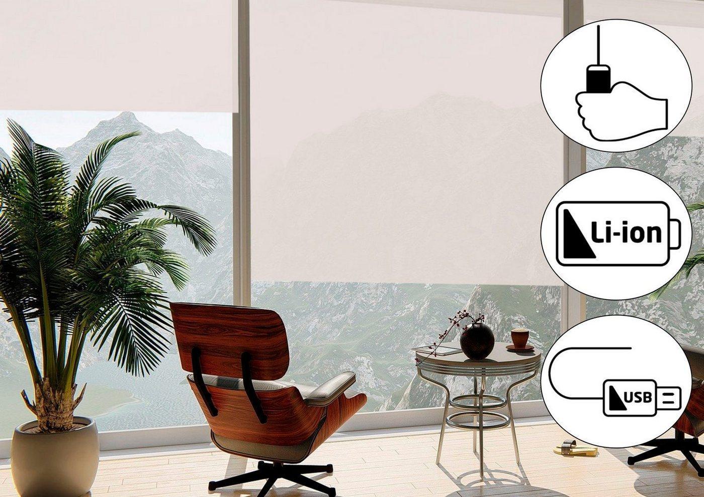Seitenzugrollo »Classic Style Akku-Rollo«, sunlines, Lichtschutz, freihängend, Made in Germany, weiß
