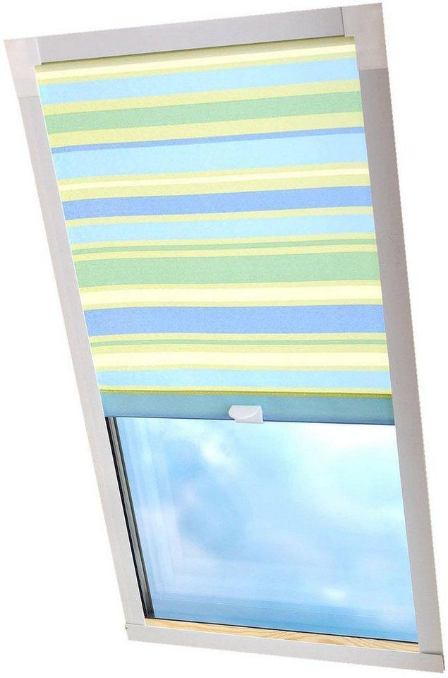 Dachfensterrollo »Dekor«, Liedeco, Lichtschutz, in Führungsschienen, Dachfensterrollo Dekor, blau