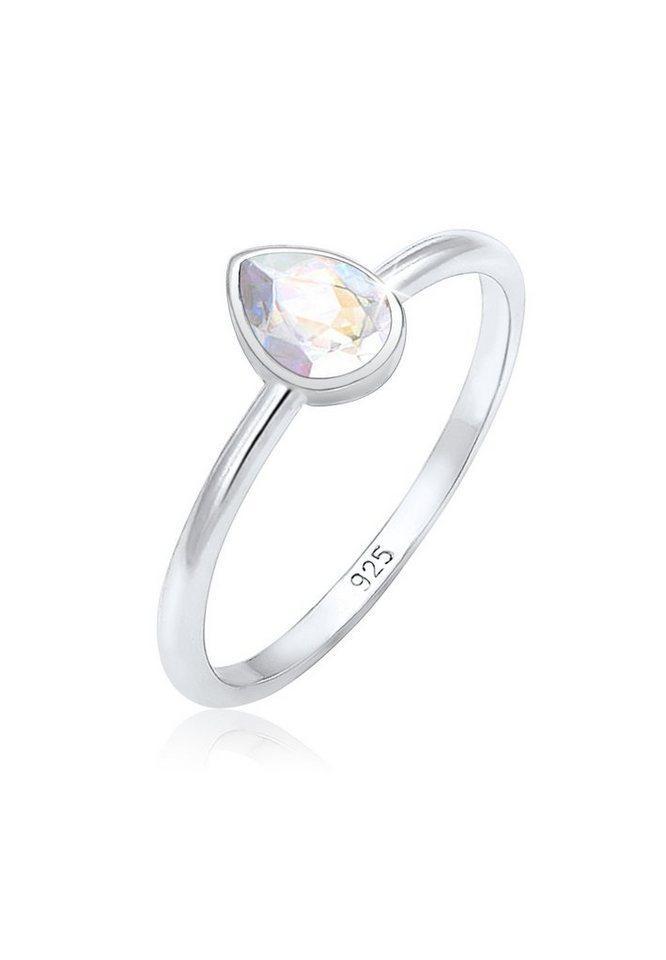 Elli Fingerring »Tropfen Kristalle Elegant 925 Silber«