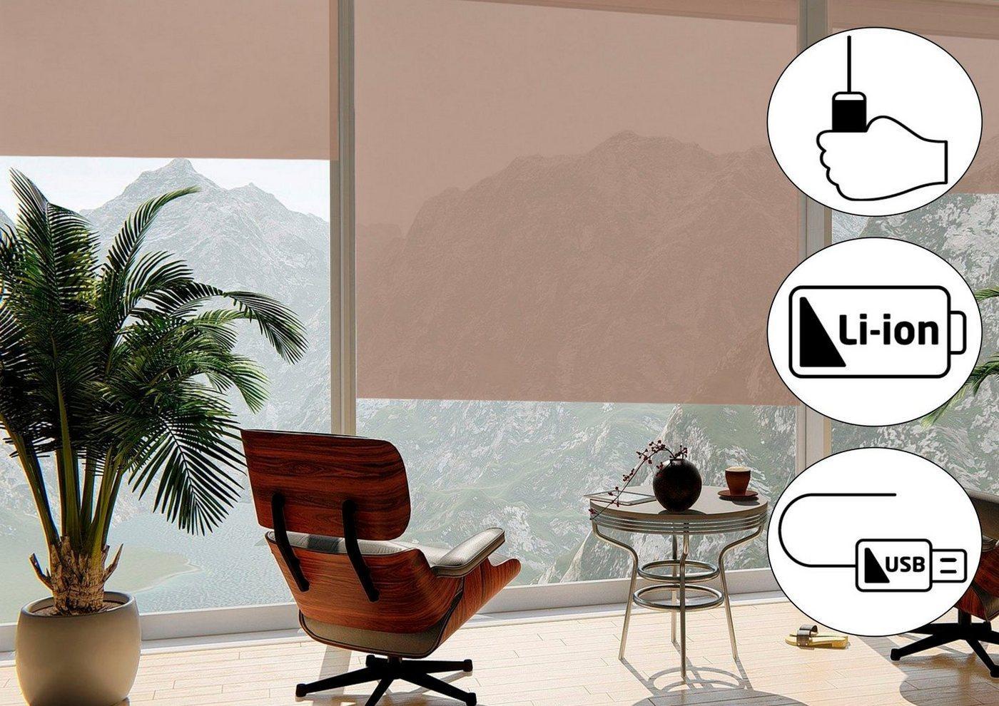 Seitenzugrollo »Classic Style Akku-Rollo«, sunlines, Lichtschutz, freihängend, Made in Germany, beige