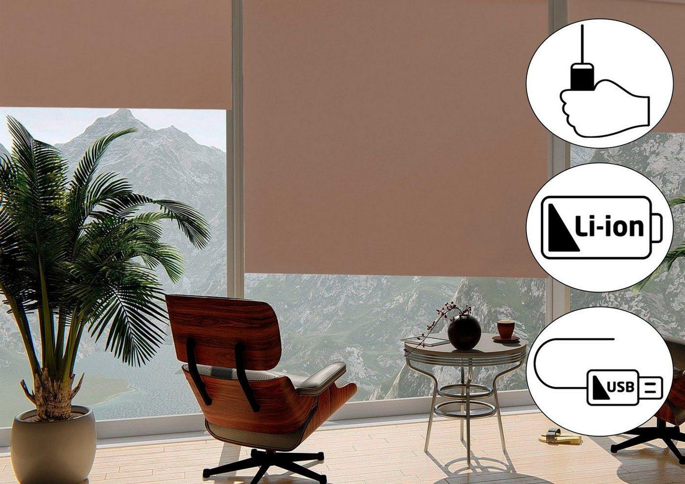 Seitenzugrollo »Classic Style Akku-Rollo«, sunlines, verdunkelnd, freihängend, Made in Germany, beige