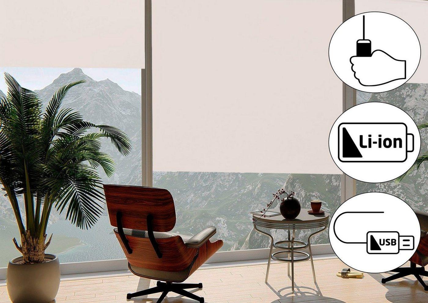 Seitenzugrollo »Classic Style Akku-Rollo«, sunlines, verdunkelnd, freihängend, Made in Germany, weiß