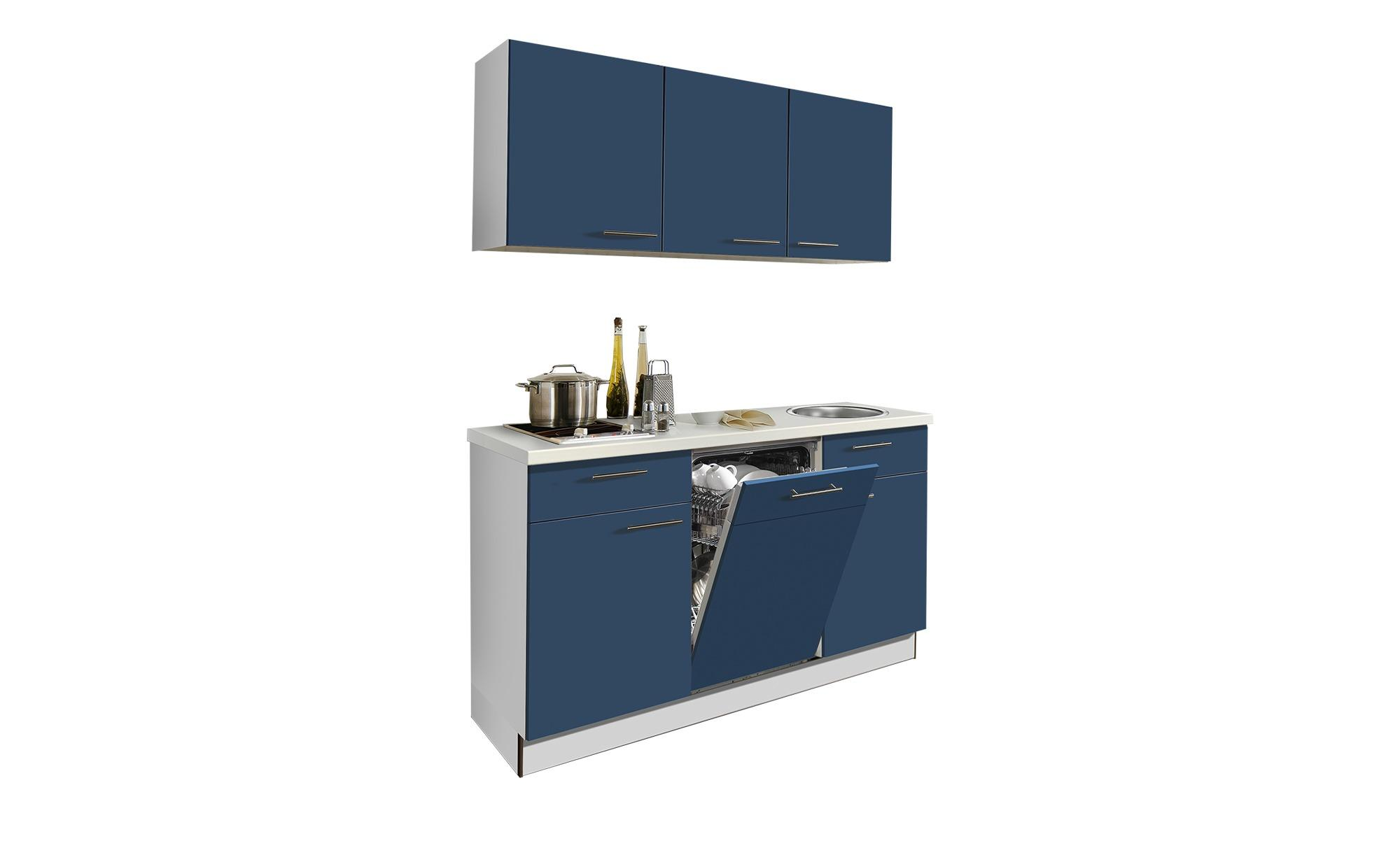 Küchenzeile mit Elektrogeräten Zwolle - blau - Sconto