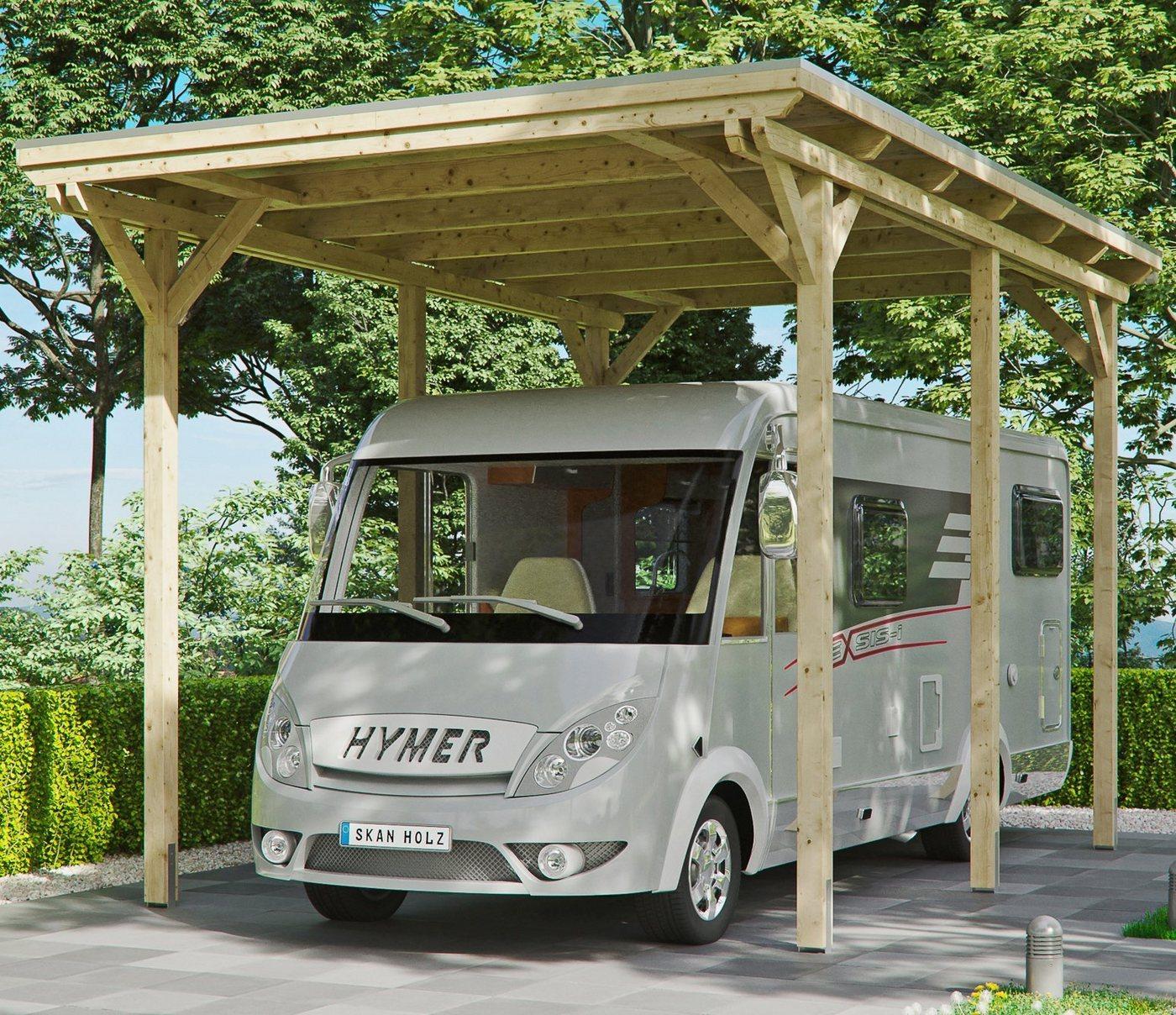 Skanholz Einzelcarport »Caravan-Emsland«, 353 cm Einfahrtshöhe, beige