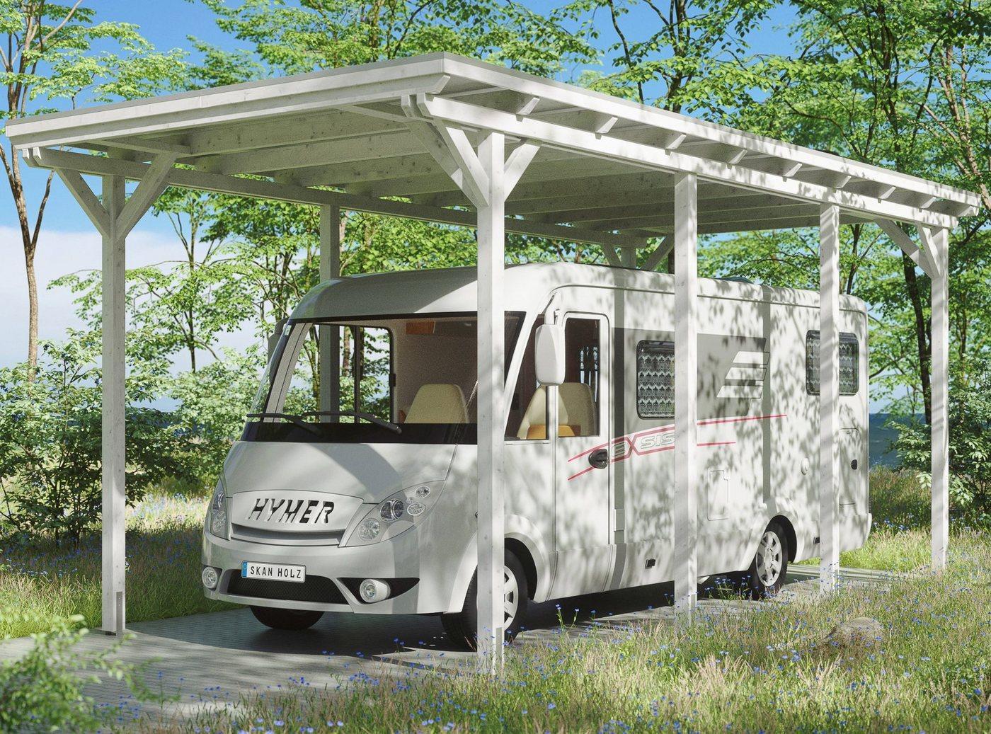 Skanholz Einzelcarport »Caravan-Emsland«, 353 cm Einfahrtshöhe, weiß