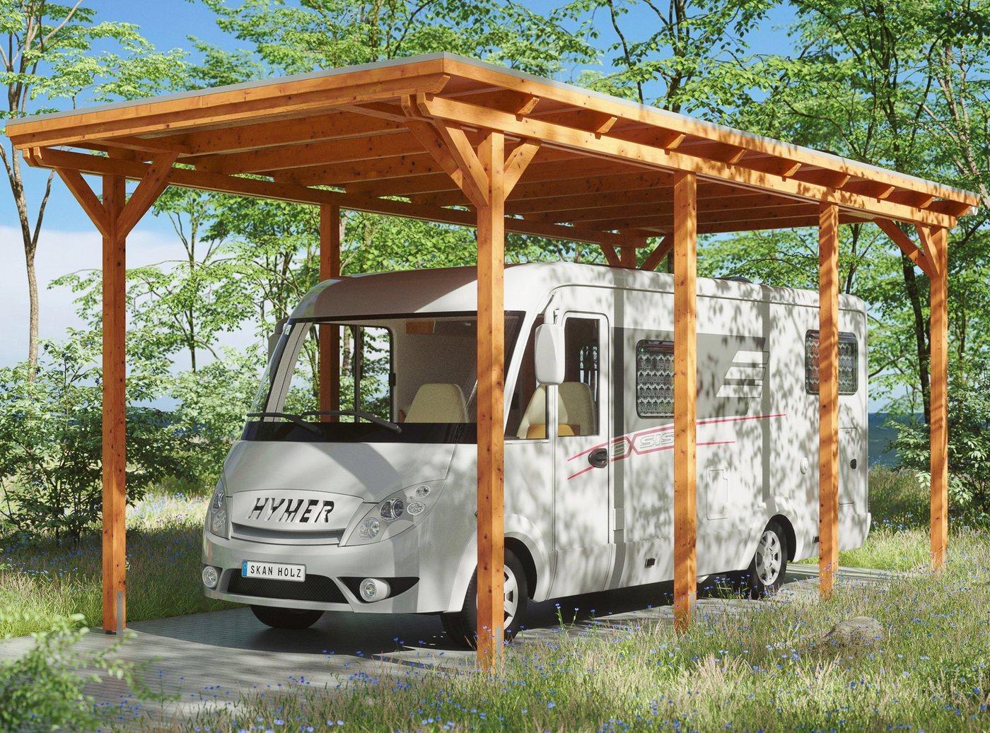 Skanholz Einzelcarport »Caravan-Emsland«, 353 cm Einfahrtshöhe, braun