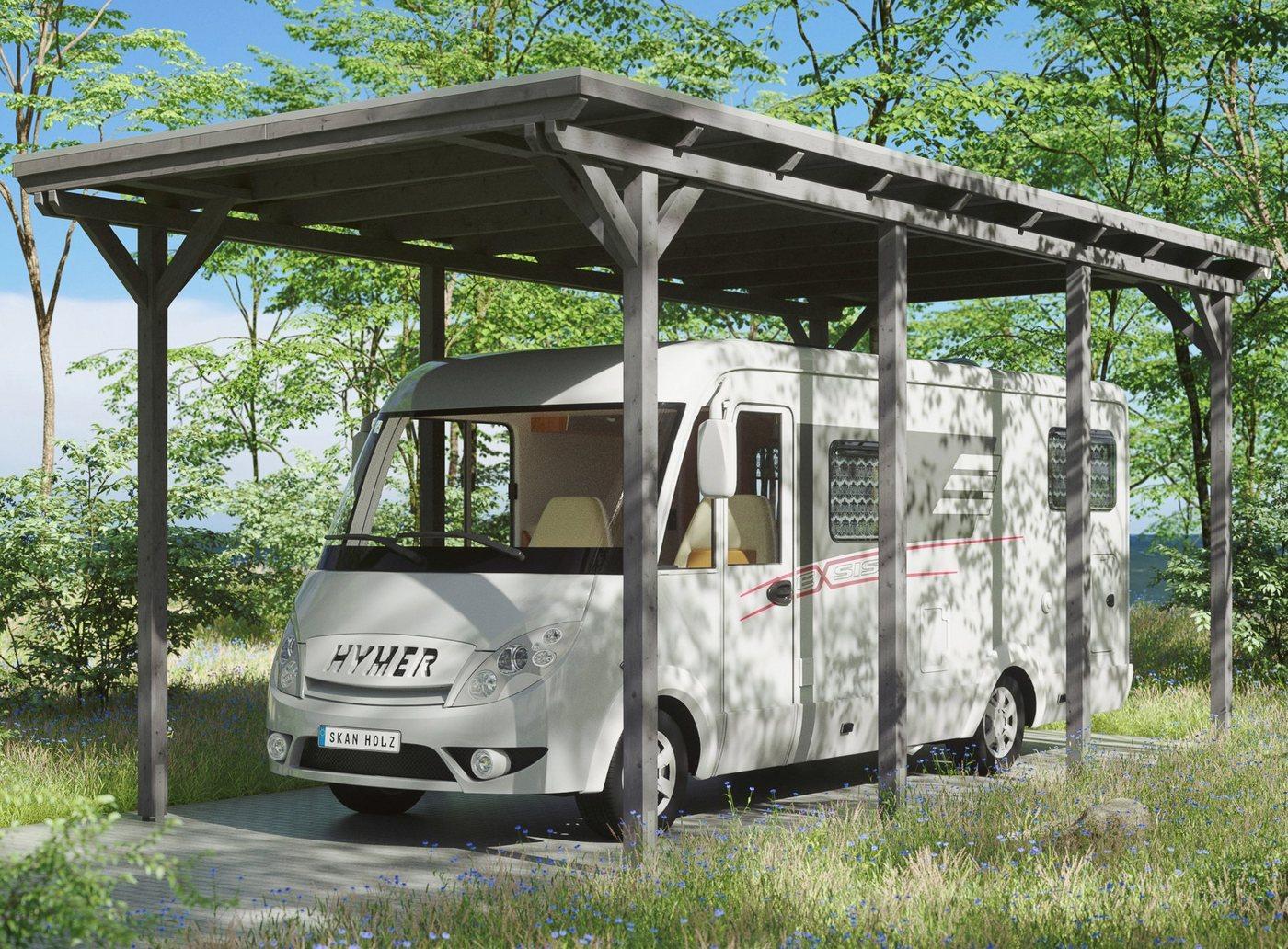 Skanholz Einzelcarport »Caravan-Emsland«, 353 cm Einfahrtshöhe, grau