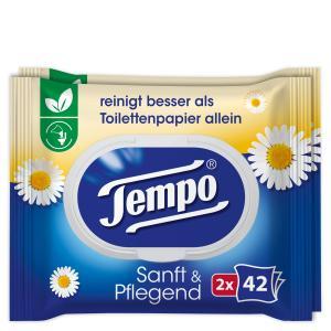 Tempo sanft & pflegend feuchte Toilettentücher, Feuchttücher mit natürlicher Kamille, 1 Doppel-Packung = 2 x 42 Tücher, mit Verschluss