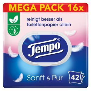 Tempo sanft & pur feuchte Toilettentücher Großpackung, Feuchttücher mit der parfümfreien, ultrasanften Formulierung, 1 Großpackung = 8 Doppel-Packungen à 2 x 42 Tücher