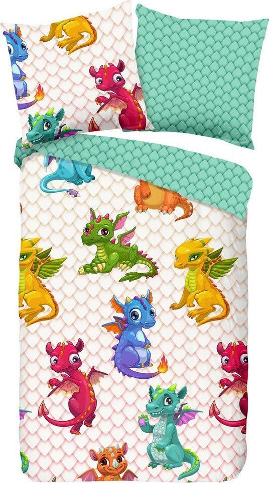 Kinderbettwäsche »Dragons«, good morning, mit Drachen