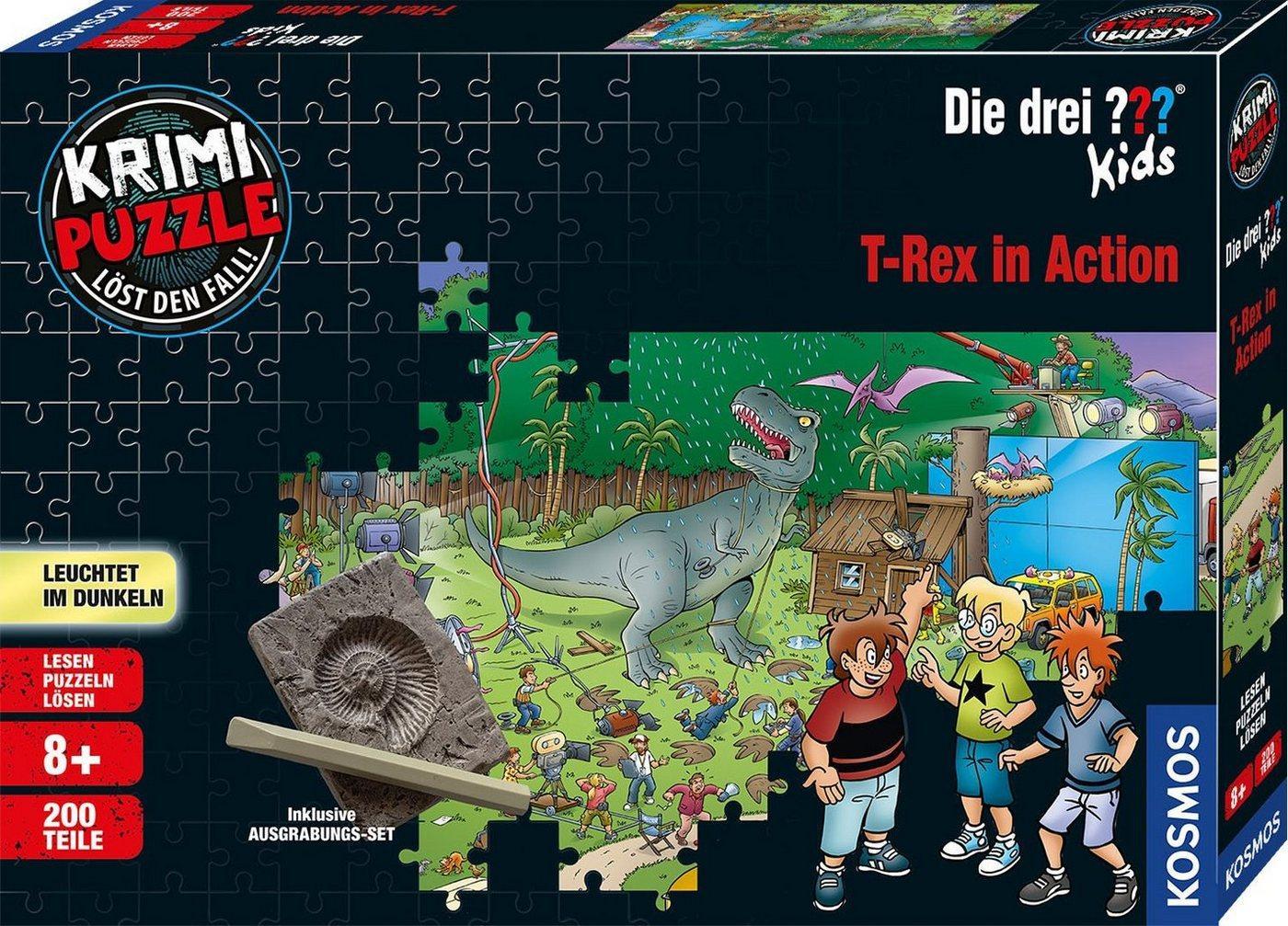 Kosmos Puzzle »Krimipuzzle Die drei ??? Kids T-Rex in Action«, 200 Puzzleteile, Made in Germany