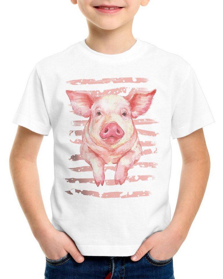 style3 Print-Shirt Kinder T-Shirt Schwein hausschwein ferkel bauernhof