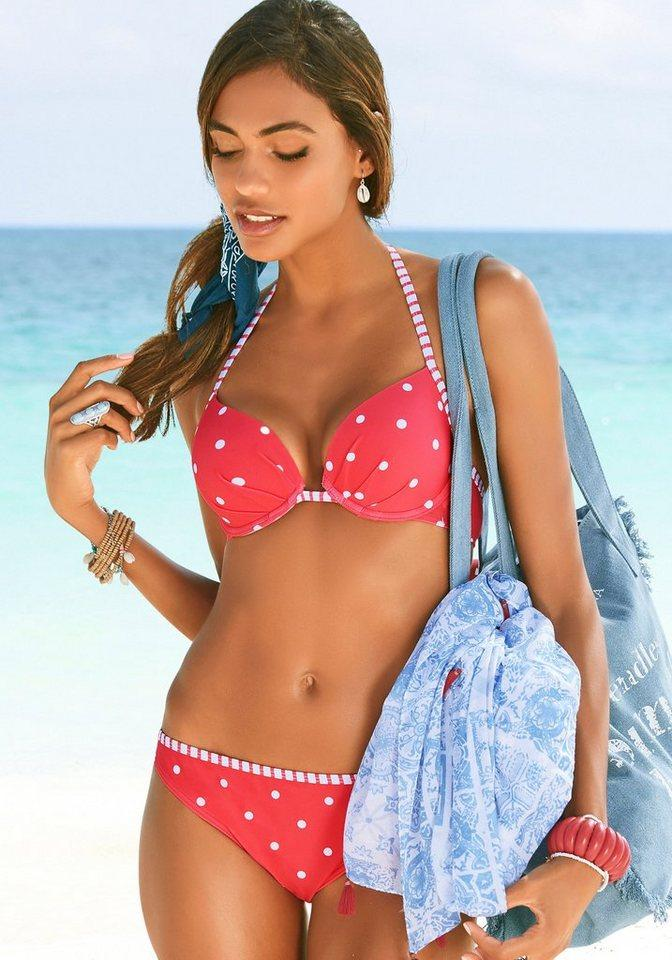 s.Oliver Bikini-Hose »Audrey«, mit gestreifter Paspel, rot