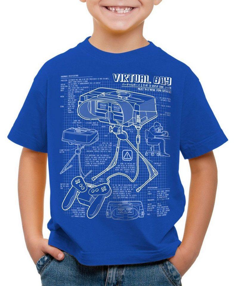 style3 Print-Shirt Kinder T-Shirt Virtual Boy Blaupause 32-Bit videospiel controller, blau