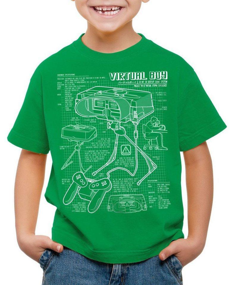 style3 Print-Shirt Kinder T-Shirt Virtual Boy Blaupause 32-Bit videospiel controller, grün