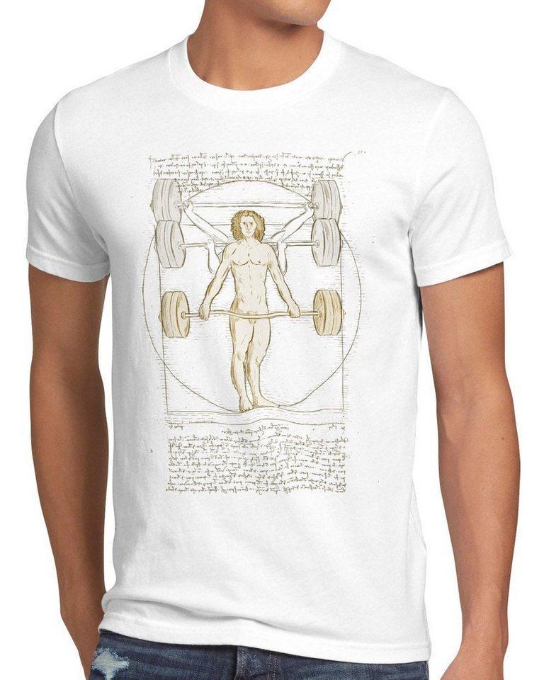 style3 Print-Shirt Herren T-Shirt Vitruvianischer Mensch mit Langhantel kreuzheben fitnesstudio, weiß