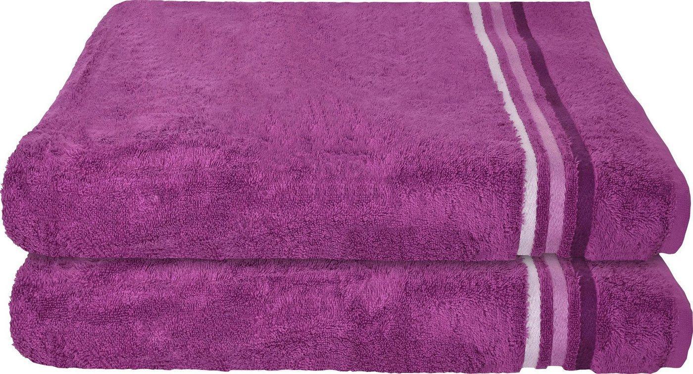 Schiesser Badetücher »Skyline Color« (2-St), mit Webbordüre, lila